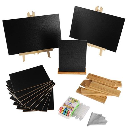 2+10 Pack Mini Chalkboards Signs with Style Wood Base Stands, Small Chalkboard Signs for Wedding, Birthday Parties, Table Numbers, Food Signs and Special Event Decoration (Birthday Chalkboard Sign)