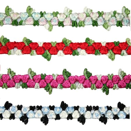 "Kiddo 5/8"" Red Blue Pink Black Small Rose Flowers Embroidered Floral Lace Trim"