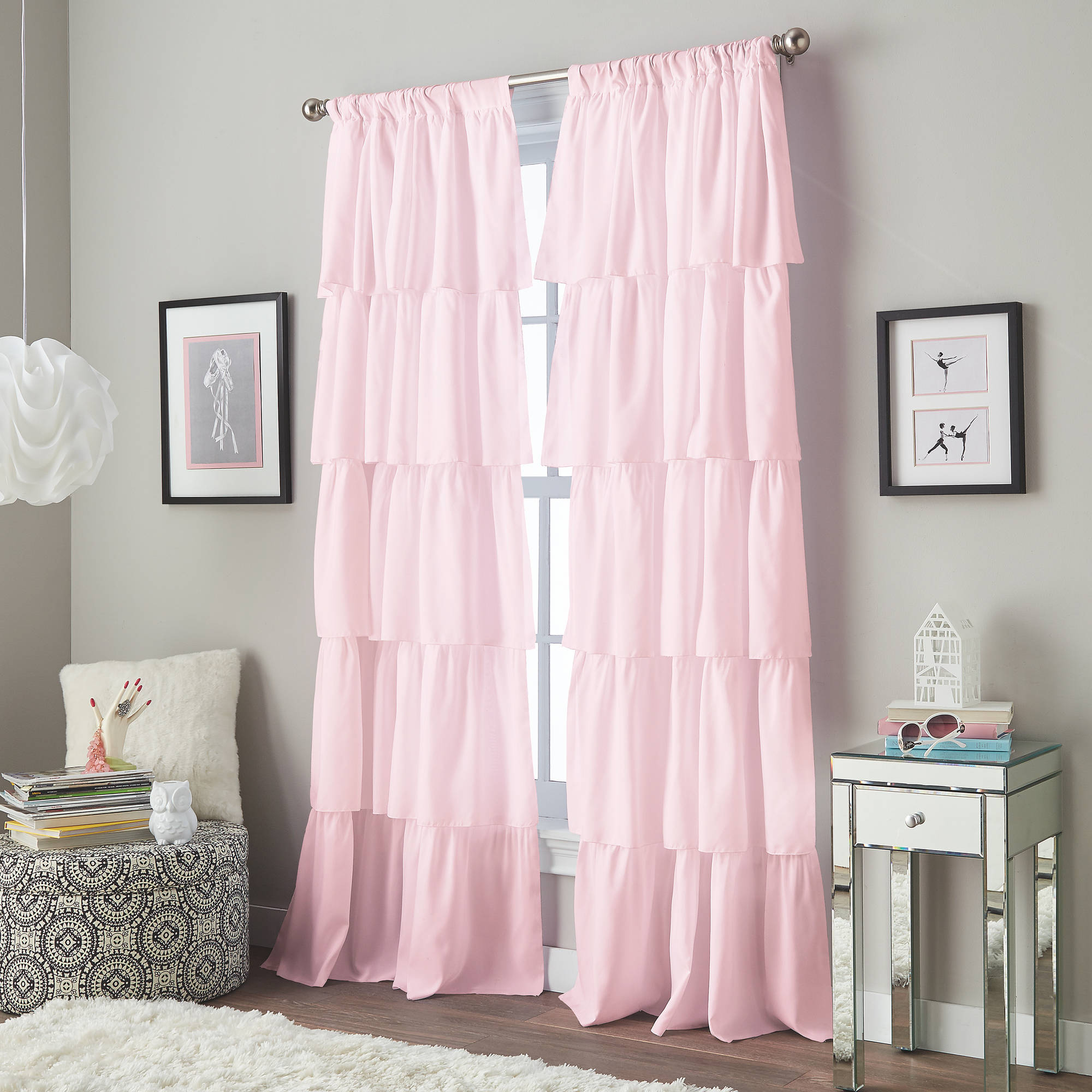 Flounce Tiered Girls Bedroom Curtain Panel
