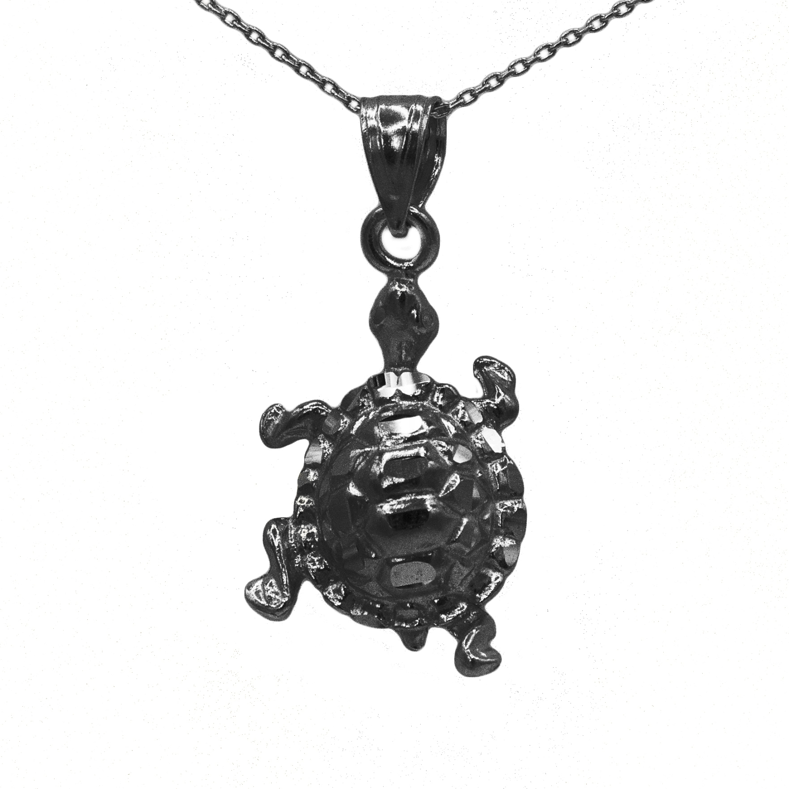 925 Black Rhodium Sterling Silver Turtle Penadnt (No Chain)