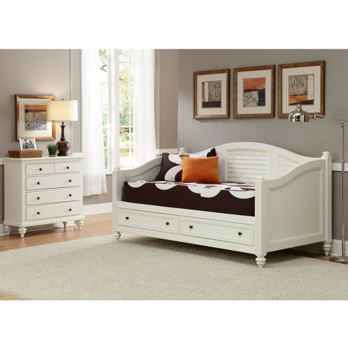 Home Styles Bermuda Daybed and TV Media Chest, Brushed White