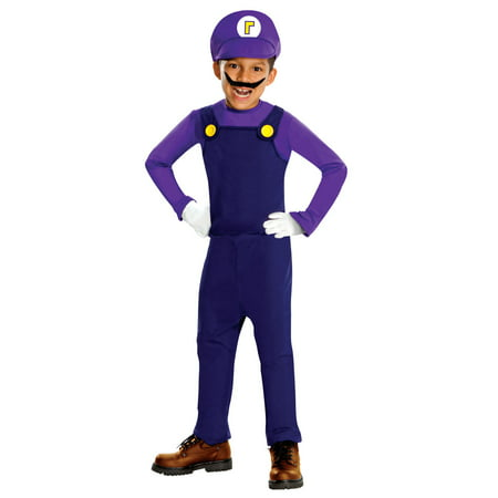 Super Mario Bros Deluxe Waluigi Costume Child - Super Mario Kids Costume