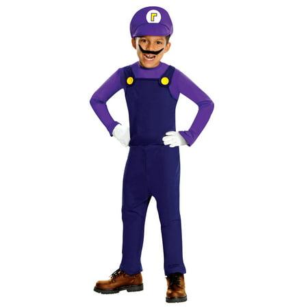 Super Mario Bros Deluxe Waluigi Costume Child