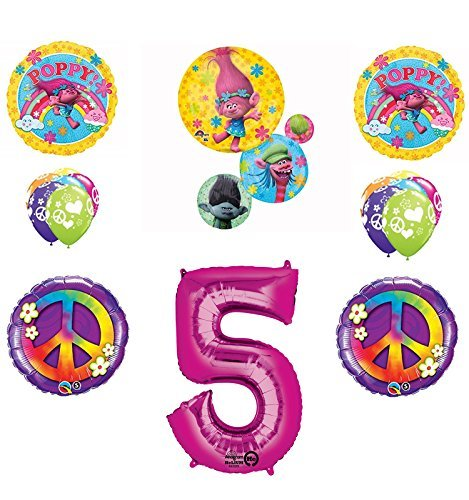TROLLS PEACE 5th Happy Birthday Party Balloons Supplies Poppy Branch Movie