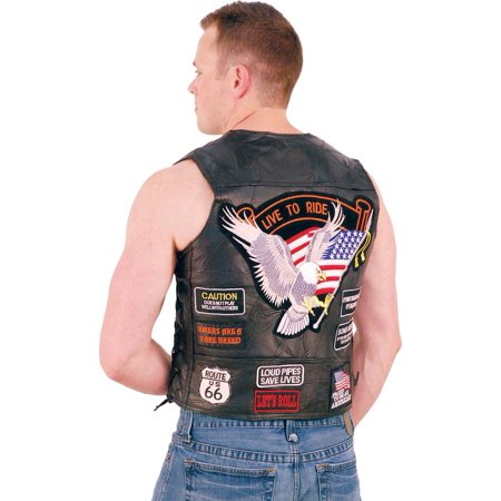 Patched Leather Vest (All Patched Up Leather Motorcycle Vest #VM14PP)