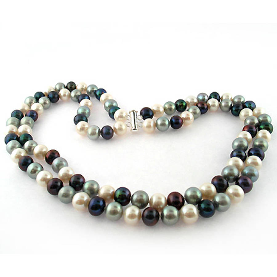 """Image of Dark Multi-Color Freshwater Pearl Necklace for Women, Sterling Silver 2 Row 17"""" & 18"""", 8mm x 9mm"""