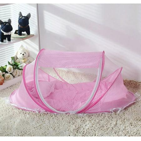 Baby Infant Sleeping Mosquito Net Pop Up Bubble Cot Bassinet Sleep Durable Pink