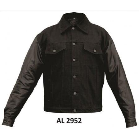 Men's Boy Fashion 3XL Size Motorcycle Buffalo Leather Sleeves Black Denim Jacket 2 Front Slash Pockets With Snap Down Collar