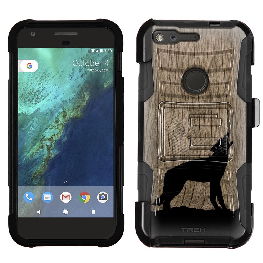 Google Pixel Armor Hybrid Case - Howling Wolf Ink On Wood