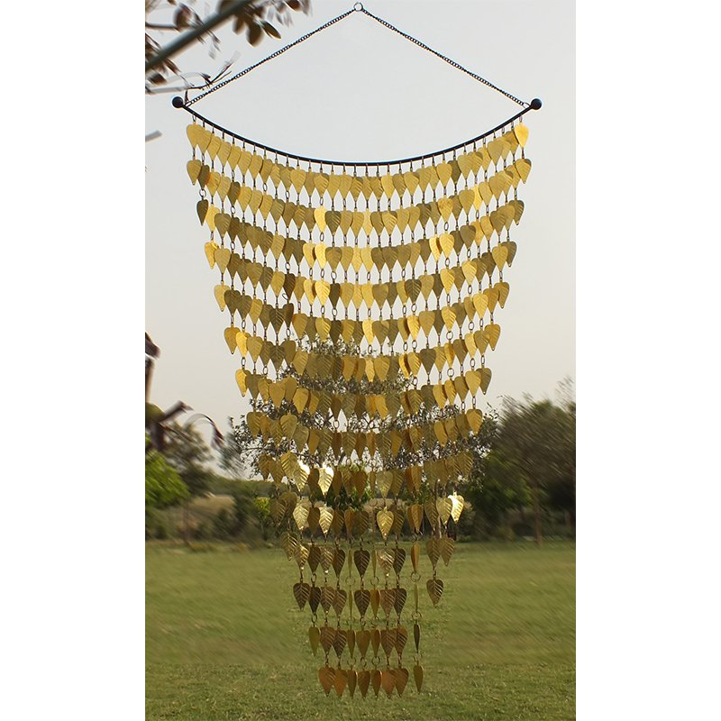 Monarch Brass Tinkling Leaves Wind Art Wind Chimes - 42 x 24 in.