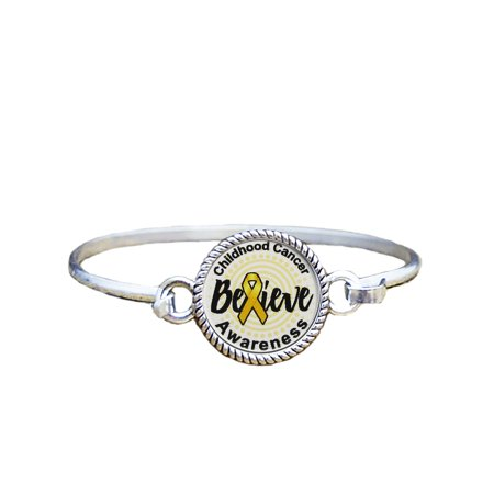 Childhood Cancer Awareness Believe Silver Plated Bracelet Jewelry