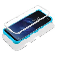 Samsung Galaxy S8 Phone Case Tuff Hybrid Shockproof Armor Impact Rugged Rubber Dual Layer Hard & Soft TPU Protective Cover - White Teal blue