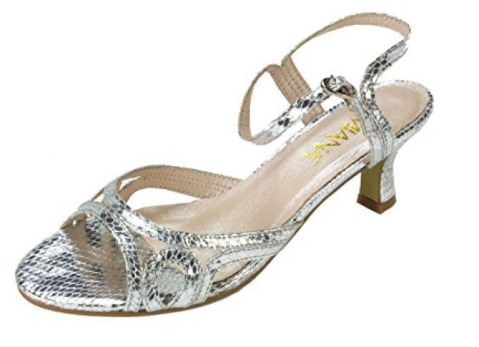 Amiana Girl's Kitten Heel Snake Dress Sandal, / Silver Metallic, 31 EU / Sandal, 13 US 148904