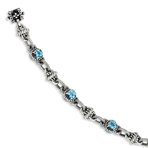 Sterling Silver 7.14 Swiss Blue Topaz 7.75in Vintage Style Bracelet 7.14ct by Jewelrypot