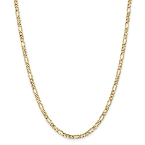 14k Yellow Gold 24in 4.4mm Solid Lightweight Figaro Necklace Chain by Jewelrypot