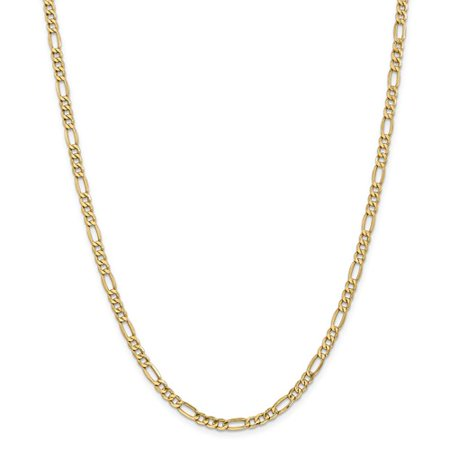 14K Yellow Gold 24In 4 4Mm Solid Lightweight Figaro Necklace Chain