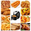Portable Air Fryers for Outdoor Picnic, 1800W Electric Air Fryer with Timer Knob, Countertop Oven with Handle, 5.6 Qt Mesh Basket, 4 Accessories, Dishwasher Safe, Nonstick, ETL Cert, Black, S242