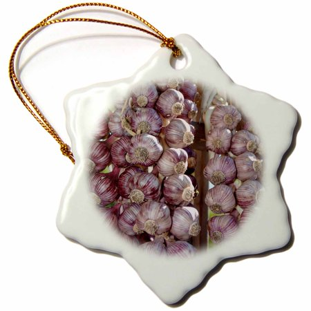 3dRose British Columbia. Braided garlic for sale at Saturday Market - Snowflake Ornament, 3-inch