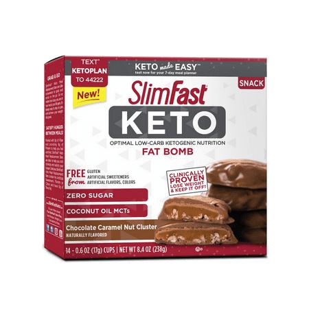 (Price/Case)Slimfast 87494 Slimfast Keto Fat Bomb Chocolate Caramel Nut Clusters 4 14Ct Box ()
