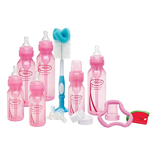 Dr. Browns Bottles Pink Set with Level 2 and Level 3 Nipples, Bottle Brush by Dr. Brown%27s