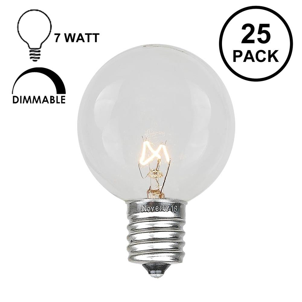 Novelty Lights 25 Pack G50 Outdoor Patio Globe Replacement Bulbs, E17/C9 Base, 7 Watt