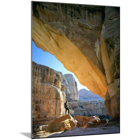 Hiker Below Natural Navajo Sandstone Hickman Bridge, Capitol Reef National Park, Utah, Usa Wood Mounted Print Wall Art By Scott T. - Navajo Natural