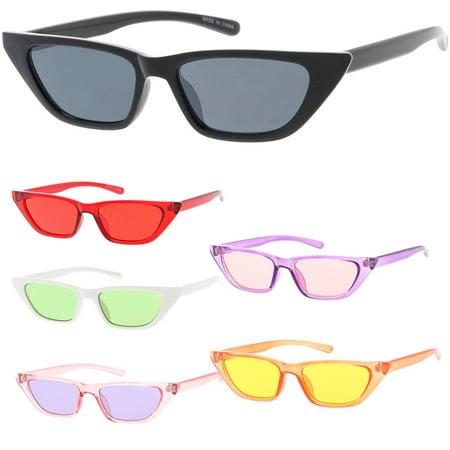 MLC Eyewear Small Tiny Cat Eye Horn Tip Sleek Fashion Sunglasses