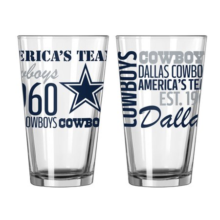 Boelter Brands NFL Set of Two 16 Ounce Spirit Pint Glass Set, Dallas Cowboys