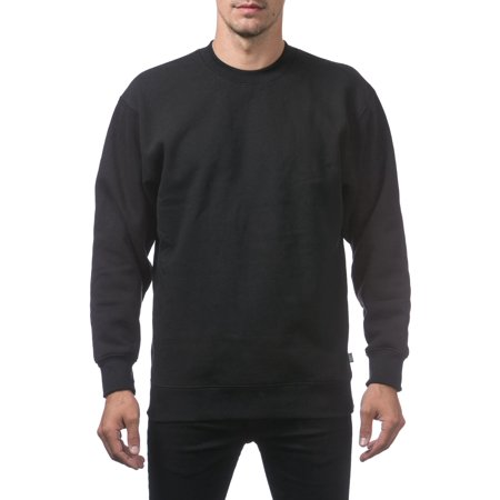 Pro Club Men's Comfort Plain Blank Crew Neck Fleece Pullover Sweater, Small, Black Black Classic College Crew Fleece
