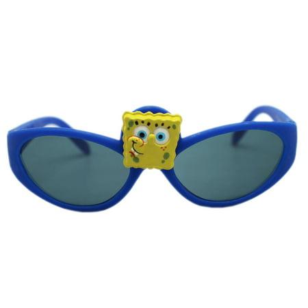 Spongebob Squarepants Blue Framed Spongebob Face Kids Sunglasses - Spongebob With Sunglasses