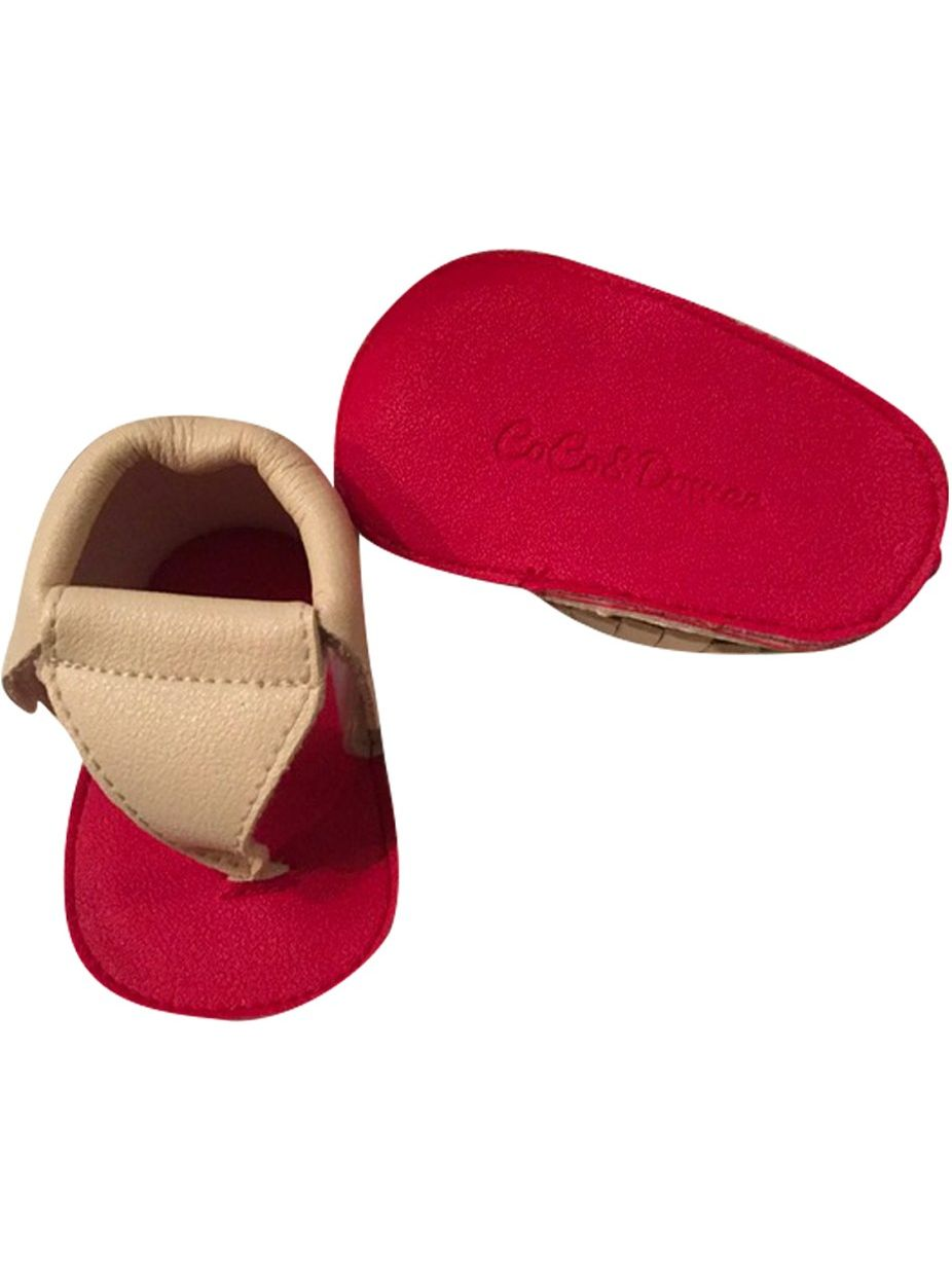 Baby Girls Cream Red Soft Sole Thong Strap Faux Leather Sandals 3-6M