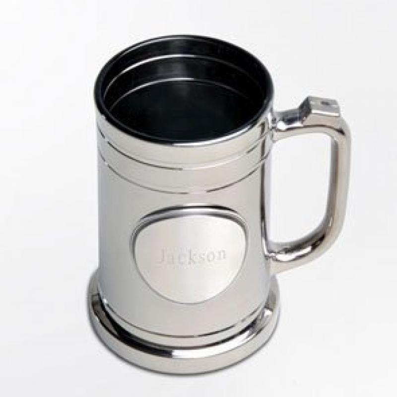 Personalized Barware - Contemporary & Classic Gunmetal Mug Beer Glass With Engraved Pewter Medallion