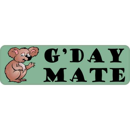 10in x 3in G'Day Mate Koala Bumper Sticker Vinyl Australia Decal Stickers (Australia Bumper Sticker)