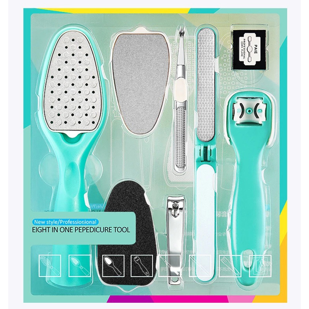 8 Pcs/Set Removable Pedicure Tools Dead Skin Removal Callus Remover Cuticle Nail Clipper Foot Care Kit
