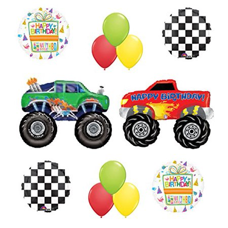 Monster Truck Birthday Party Supplies and Balloon Bouquet Decorations - Monster Truck Party Supplies