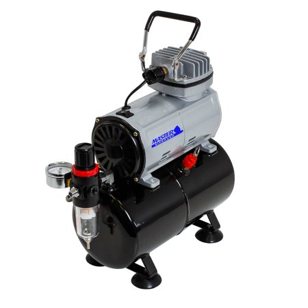 Professional High Performance Single-Piston Airbrush Air Compressor with Air Storage Tank, Regulator, Gauge & Water (Master Compressor)