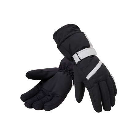 Women 3M Thinsulate Lined Waterproof Ski Gloves,M,Black Silver