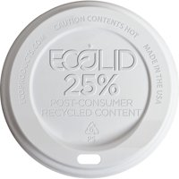 Eco-Products EcoLid 25% Recy Content Hot Cup Lid, White, F/10-20oz, 100/PK, 10 PK/CT -ECOEPHL16WR