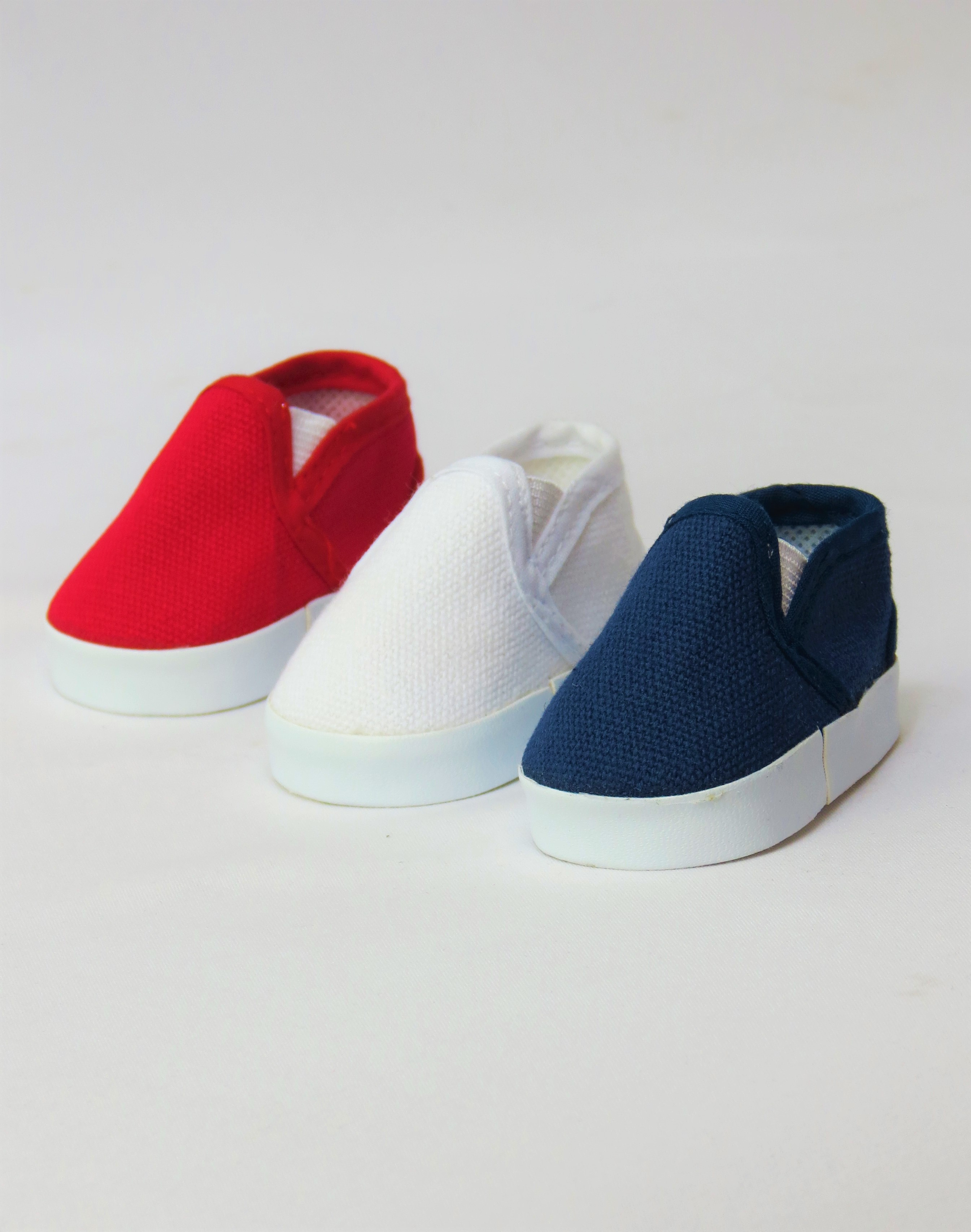 """3 Pack of Canvas Slip Ons: Red, White, and Blue   Fits 18"""" American Girl Dolls,... by"""
