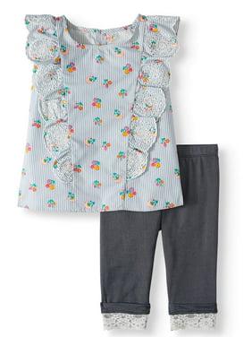 1e967341f Product Image Forever Me Ruffle Top & Denim Capri Leggings, 2pc Outfit Set  (Toddler Girls)