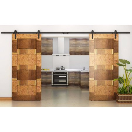 Tms 12ft country style interior double sliding barn door for 12 foot barn door track