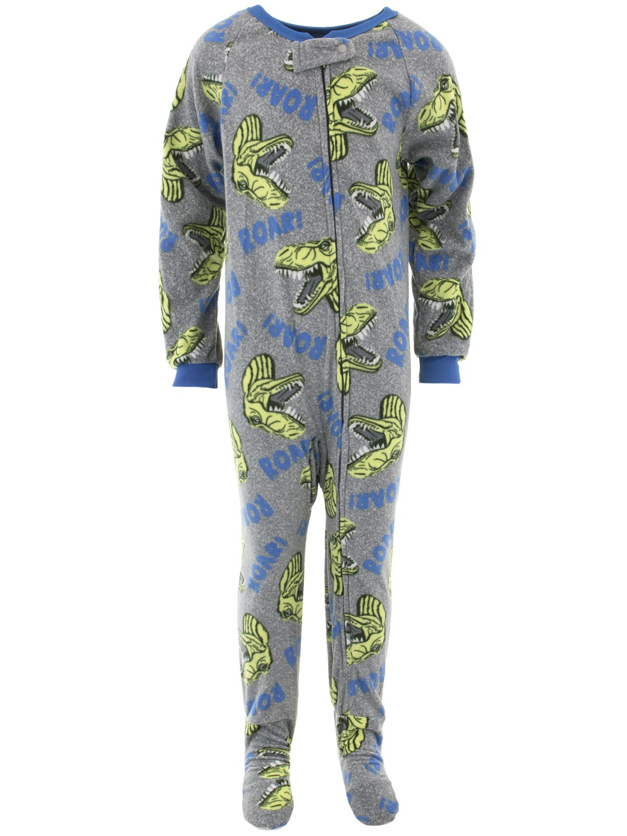 Quad Seven Boys Dino Roar Gray Footed Pajamas
