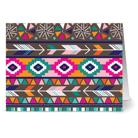 - 24 Note Cards - Tribal Motif - Blank Cards - Aqua Blue Ocean Envelopes Included