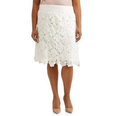 Women's Plus Size Elastic Waist Lace Skirt ()
