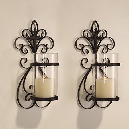 Adeco  Iron and Glass Vertical Wall Hanging Candle Holder Sconce (Set of 2) ()