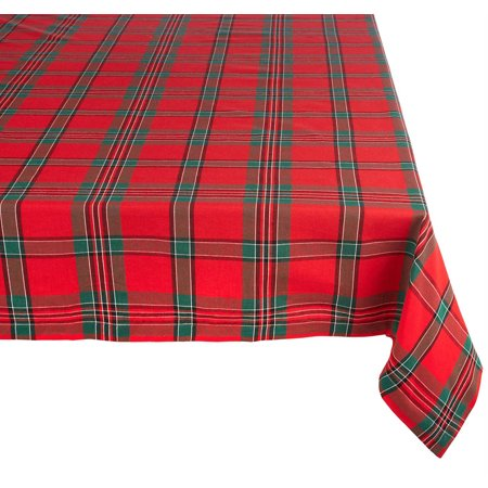 Red Plaid Tablecloth (DII Holiday Plaid Rectangle Tablecloth, 60x120