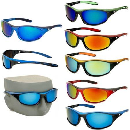 2 Sport Wrap Sunglasses Mens Fishing Golfing Glasses Mirror Lens UV400 Sun - Mirrored Lenses