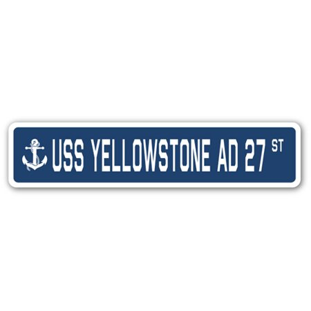 Uss Yellowstone Ad 27 Street  3 Pack  Of Vinyl Decal Stickers   1 5   X 7    Indoor Outdoor   Funny Decoration For Laptop  Car  Garage   Bedroom  Offices   Signmission