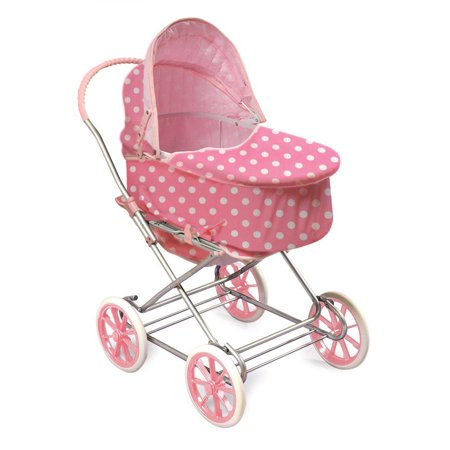 Just Like Mommy 3-in-1 Doll Pram, Pink with White Polka Dots Fits American Girl Dolls & My... by