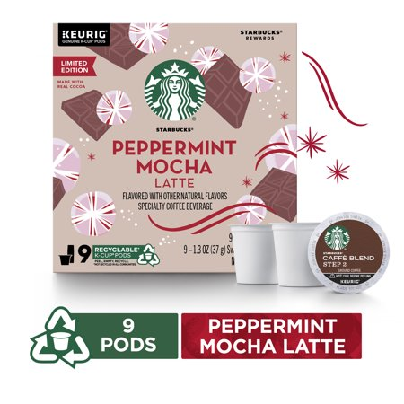 Starbucks Peppermint Mocha Caffe Latte Flavored Medium Roast Coffee Single-Cup Coffee for Keurig Brewers, 1 Box of 9 (9 Total K-Cup Pods) | Chocolaty & Minty Notes